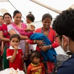 Direct Relief and Children's Hospital For Eye Ear and Rehabilitation Services medical camp in Bhakatpur, Nepal after the 2015 earthquake