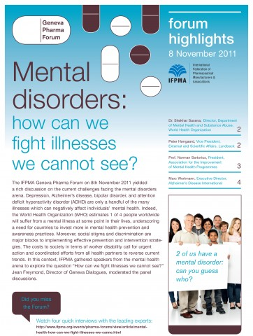 IFPMA event highlights: Mental disorders: how can we fight illnesses we cannot see?