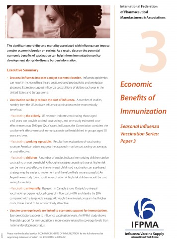 Fact sheet 3: Economic benefits of immunization