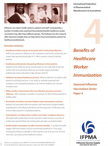 Fact sheet 4: Benefits of healthcare worker immunization