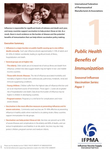 Fact sheet 1: Public health benefits of immunization