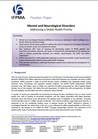 Mental and neurological disorders addressing a global health priority