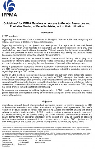IFPMA Guidelines on Access to Genetic Resources: position paper