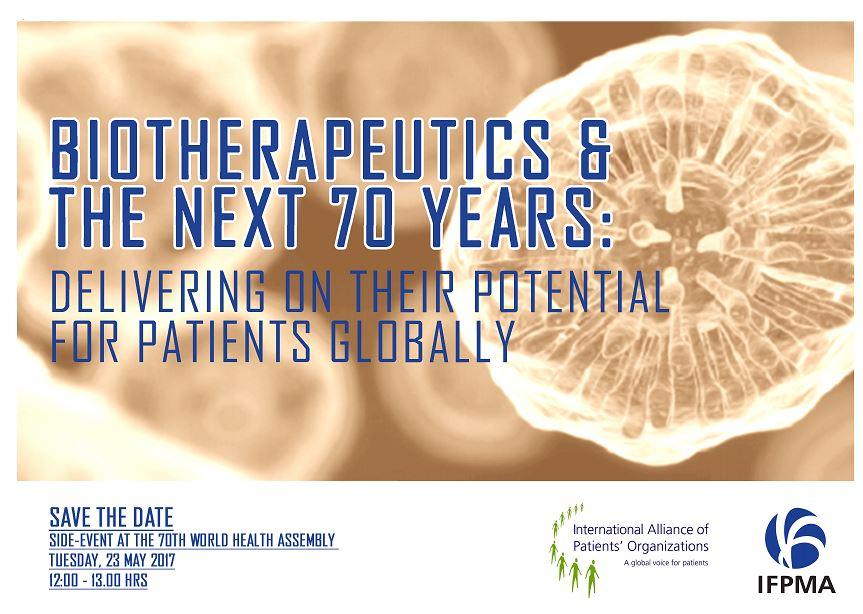 @WHA70 Biotherapeutics & the next 70 years: delivering on their potential for patients globally