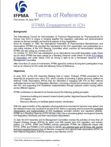 IFPMA Engagement in ICH