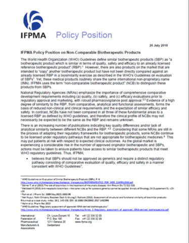 IFPMA Policy Position on Non-Comparable Biotherapeutic Products