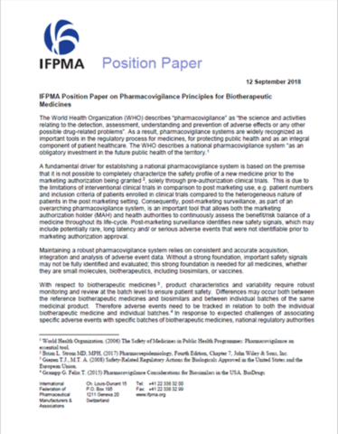 IFPMA Position Paper on Pharmacovigilance Principles for Biotherapeutic Medicines