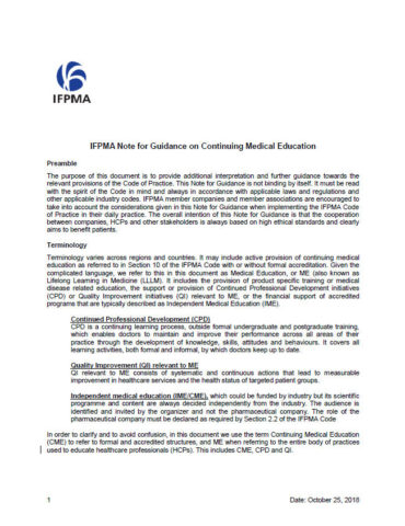 IFPMA Note for Guidance on Continuing Medical Education (2018)
