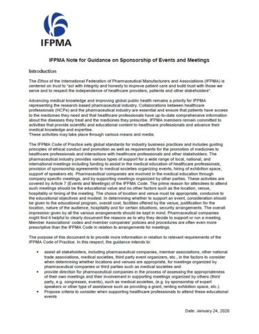 IFPMA Note for Guidance on Sponsorship of Events and Meetings (2020 update)