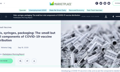 Interview – BBC World Service Marketplace Morning Report - Vials, syringes, packaging: The small but vital components of COVID-19 vaccine distribution