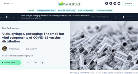 Interview – BBC World Service Marketplace Morning Report – Vials, syringes, packaging: The small but vital components of COVID-19 vaccine distribution
