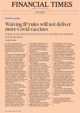 Waiving IP rules will not deliver more Covid vaccines